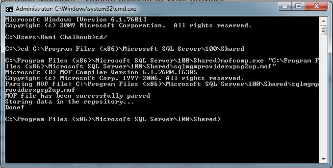 using mofcomp.exe