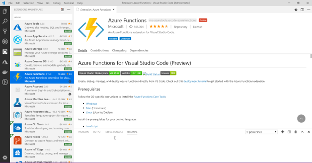 vscode acure function extension.png